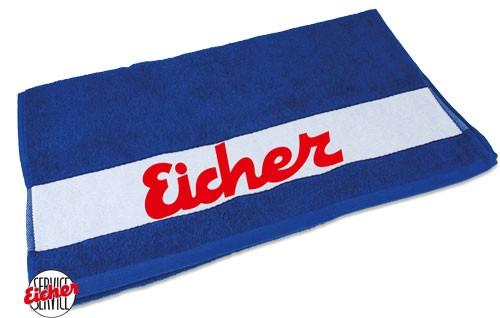 Handtuch blau mit Eicher Schriftzug