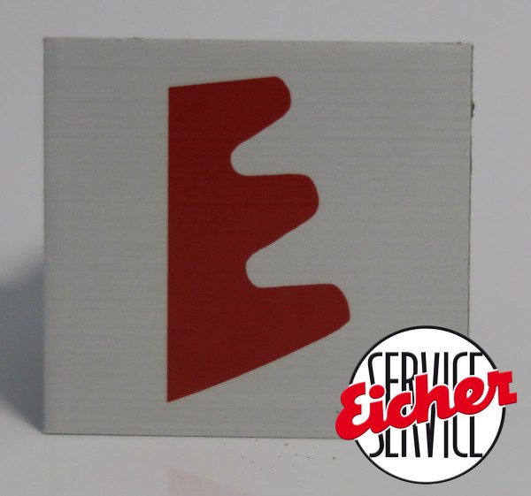 Alublech, rot bedruckt, 5,5 x 5 cm