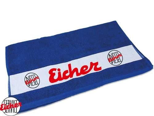 Handtuch blau mit Eicher Diesel Logo