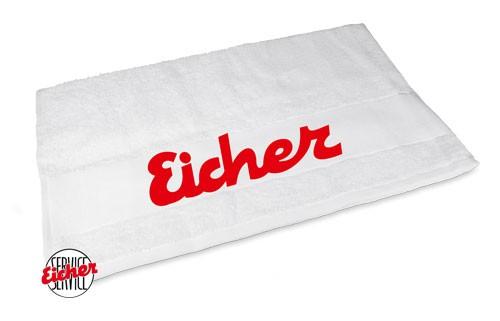 Handtuch weiß mit Eicher Schriftzug