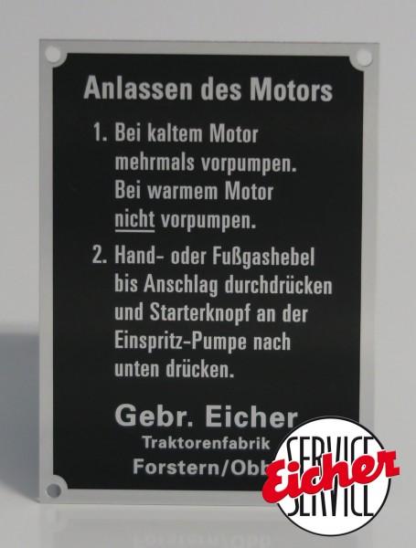 """Aluminium Schild """"Anlassen des Motor"""""""