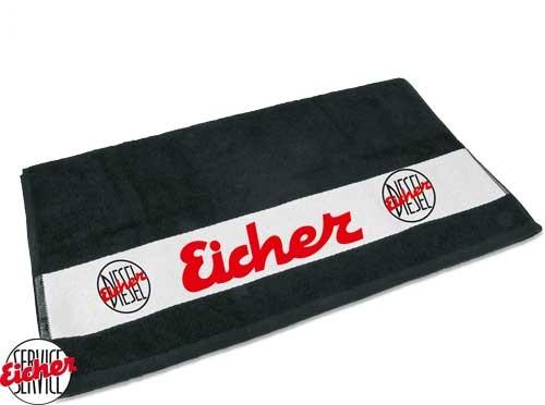 Handtuch schwarz mit Eicher Diesel Logo