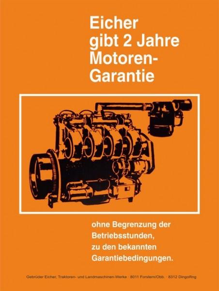 """Eicher Schild """"2 Jahre Motoren Garantie"""""""