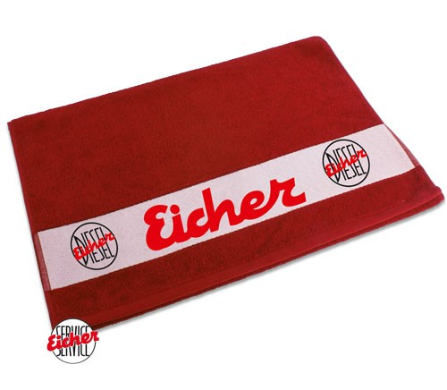 Handtuch rot mit Eicher Diesel Logo