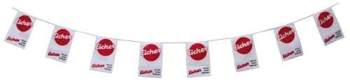 Wimpelkette Eicher-Logo und Spruch