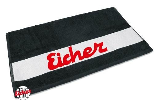 Handtuch schwarz mit Eicher Schriftzug
