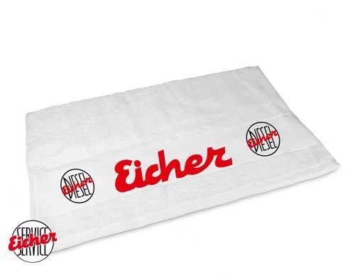Handtuch weiß mit Eicher Diesel Logo