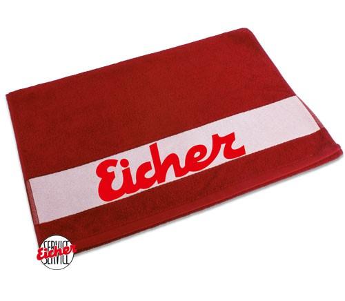 Handtuch rot mit Eicher Schriftzug