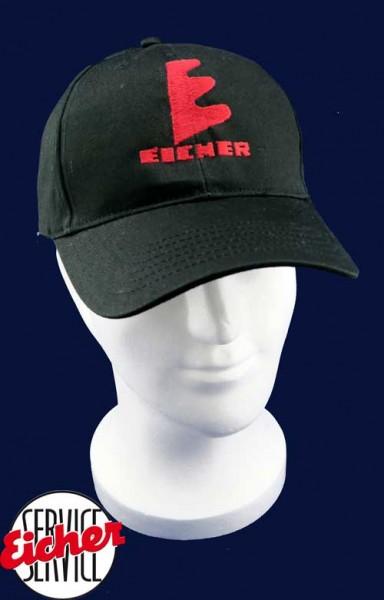 Schwarzes Baumwoll-Cap, Logo gestickt